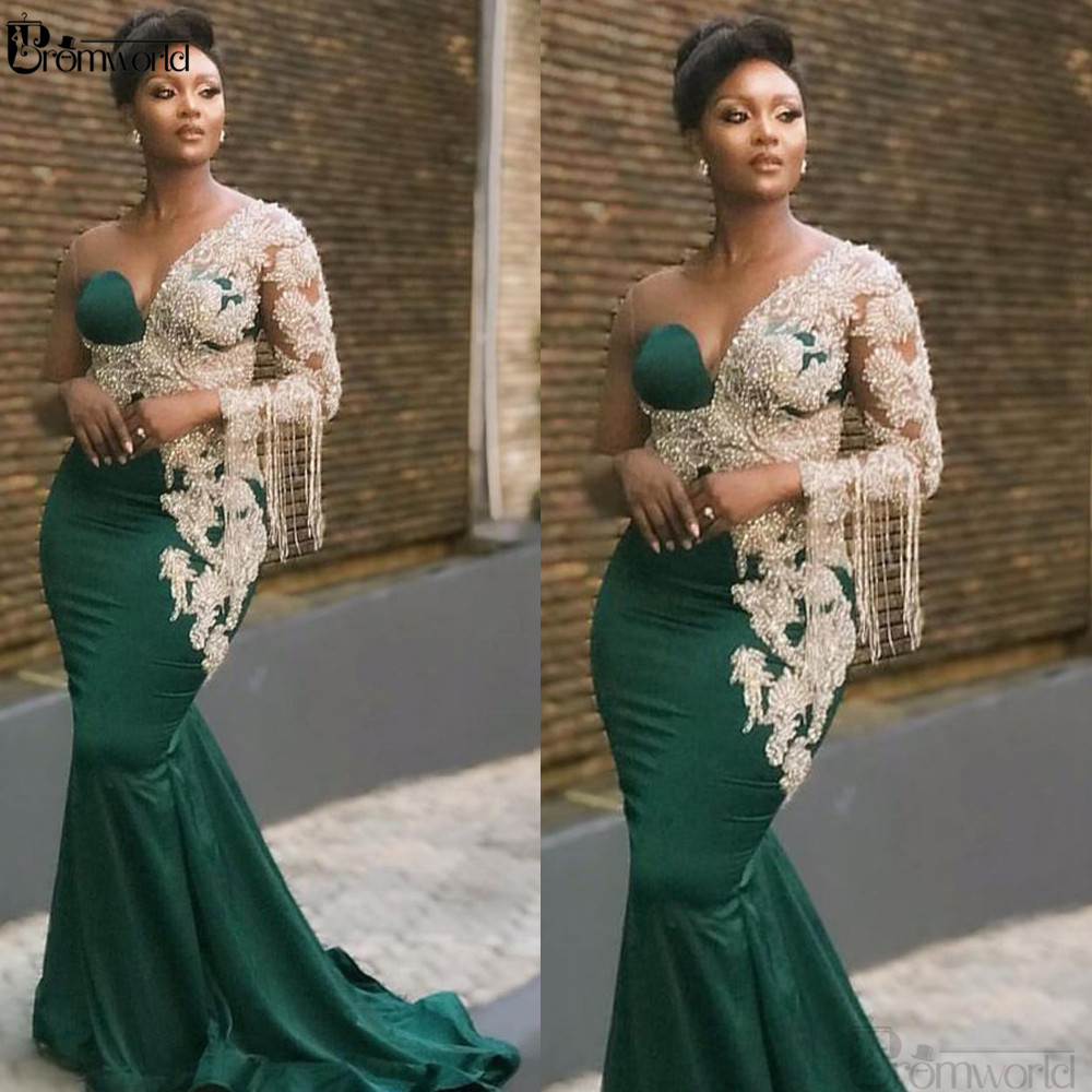 Emerald Green Prom Dresses 2020 One Shoulder Pearls Tassel Lace Appliques Mermaid Satin Evening Dresses Abiye Gece Elbisesi