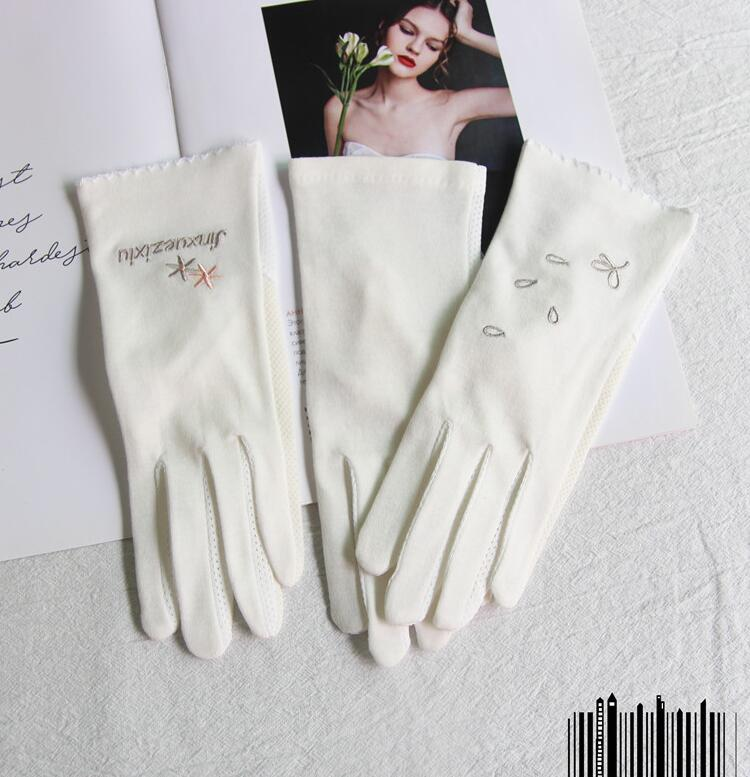 Women's Spring Summer Elegant White Cotton Gloves Female Uv Protection Breathable Touchscreen Sunscreen Driving Glove R2962