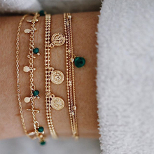 Tocoan Fashion Vintage Female Gold Chain Bracelets Set Coin Bead Crystal Bracelet Boho Ethnic Indian Jewellery Accessories 9142