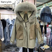 New Faux Rabbit Hair Collar Warm Parka Women Plus Thickened Leather Overcoat Autumn Winter Windproof Windbreaker Padded Oversize