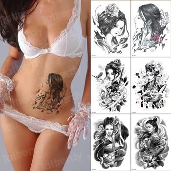 6 unids/pack tatuaje y arte corporal para mujeres japonesas tatuaje grande negro estiramiento diseños muñeca brazo manga patrón de transferencia de agua tatuaje de pierna
