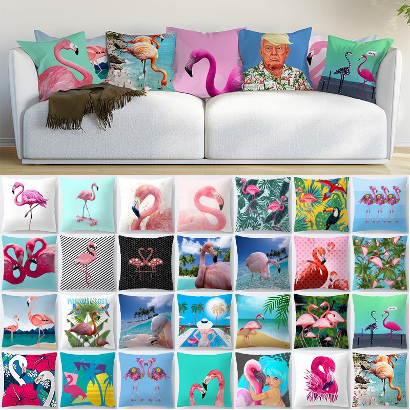Pillowcase Flamingo Decorative Pillows Cushion Cover 45x45 Summer Tropical Plants Pillow Cases Home Decor Sofa Living Room 10475