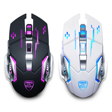 Rechargeable LED Light Mute Optical Wireless Gaming Mouse for Computer Notebook   4 Color Breathing Light