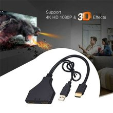 цена на Durable Splitter Cable for HDMI 2.0 Dual 4K 1 to 2 HDMI male to 2 HDMI Female UHD Adapter Converter cable