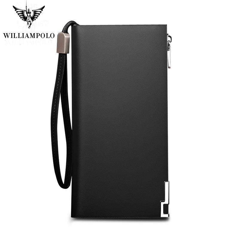 WILLIAMPOLO Long Genuine Leather Men Wallet Fashion Design Sequined Phone Credit Card Holder Wallet Cow Leather