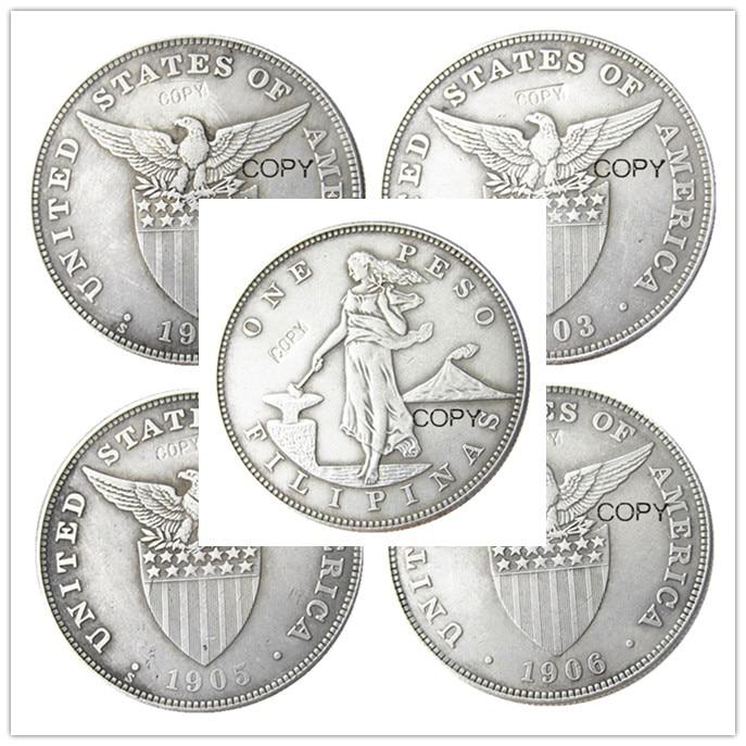 Filipina Juego De Monedas De Copia 4 Uds 1903 De Peso Corona Plateada 1906 0 5 Monedas Sin Curso Legal Aliexpress