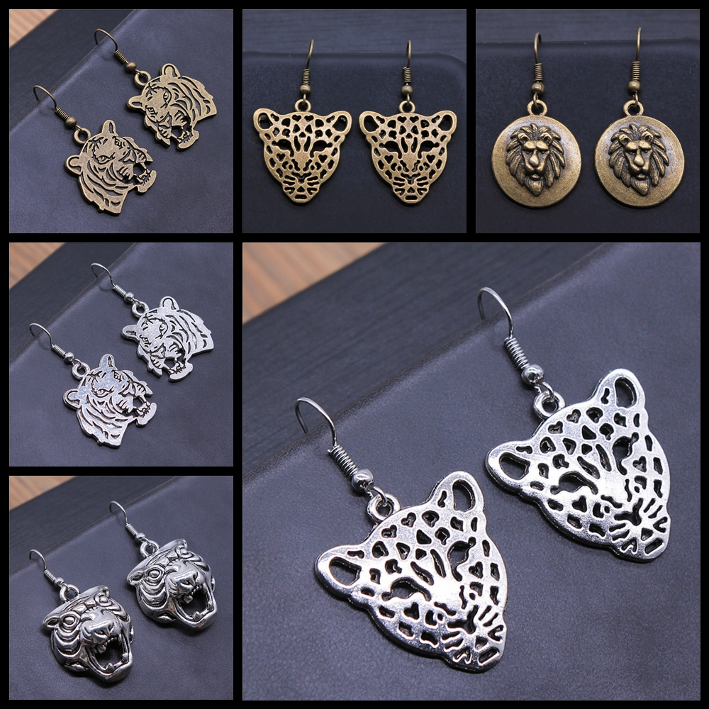 Animal Dangle Earring Vintage Antique Silver Color Antique Bronze Color Tiger Leopard Lion Head Pendant Drop Earrings