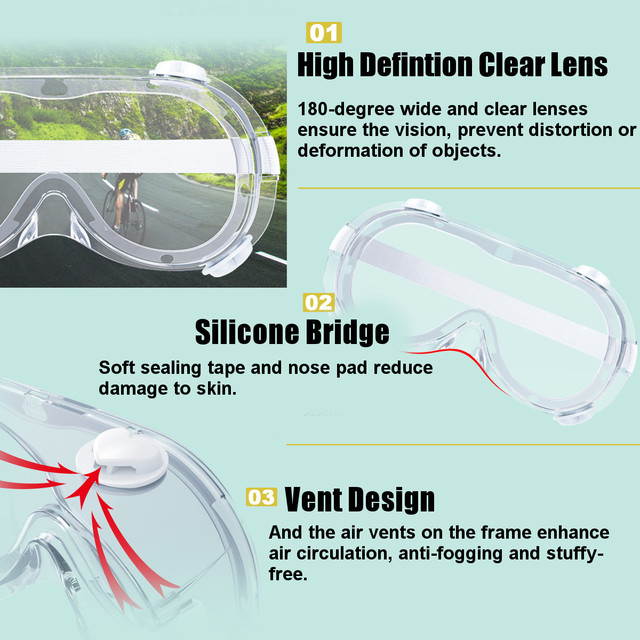 2 Type Protective Safety Goggles Wide Vision Disposable Indirect Vent Prevent Eye Mask Anti-Fog Splash Goggles 1