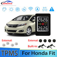 Smart Car TPMS Tire Pressure Monitor System For Honda Fit with 4 sensors Wireless Alarm Systems LCD Display TPMS Monitor joying usb car tpms tire pressure monitor alarm system kit for android dvd stereo multimedia player auto security alarm systems