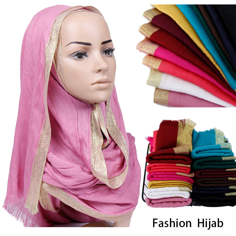Fashion Tassel Long Muslim Woman Hijabs Islamic Clothing Shawls And Wraps Hijab Foulard Gold Yarn Cotton Head Scarf Turban