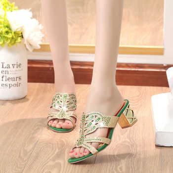 Lucyever 2020 Summer Women\'s Rhinestones Slippers Slides Fashion Thick High Heels Gladiator Sandals Beach Flip Flops Shoes Woman
