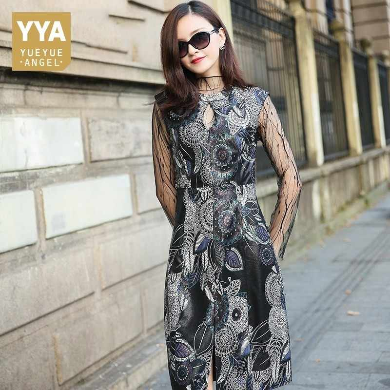 2020 New Womens Vintage Floral Printed Sleeveless Dress Wrap Split Slim Fit Lady Party Mid Long Sheepskin Genuine Leather Dress