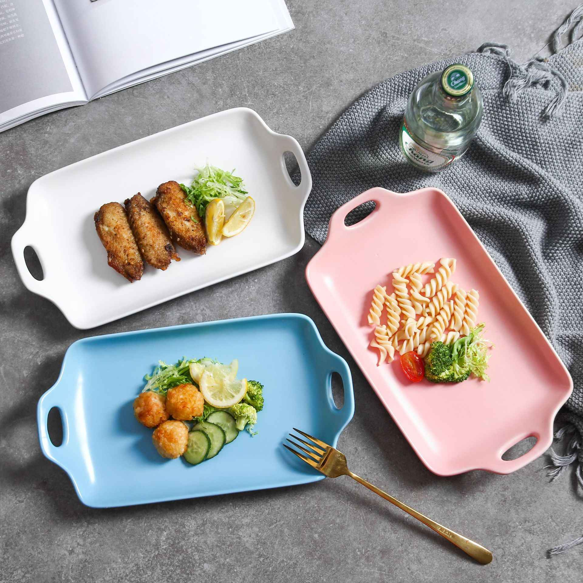 Rectangle Design Dinner Dessert Appetizer Vermicelli Plate Dish