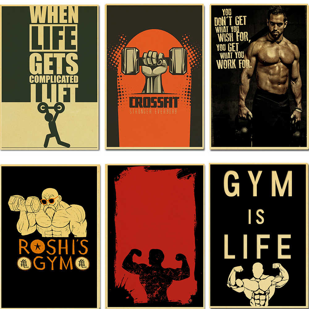 Muscle Bodybuilding Fitness Motivational Quotes Vintage Kraft Paper Painting Poster Wall Picture Print For Home Gym Office Decor Painting Calligraphy Aliexpress