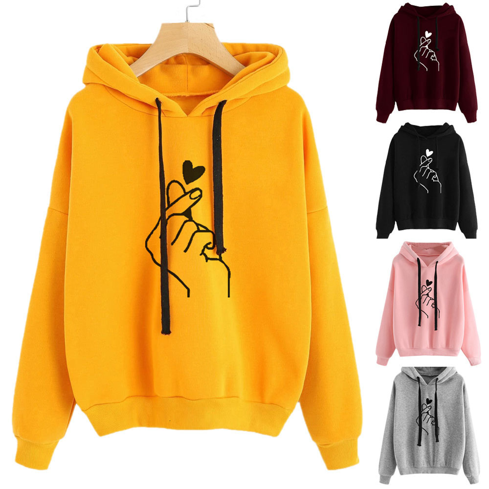 Harajuku Women Sweatshirt Hoody Ladies <font><b>K</b></font> <font><b>Pop</b></font> Yellow Pink Love Heart Hand Finger Hooded Drawstring Casual Hoodies For Women Girls image