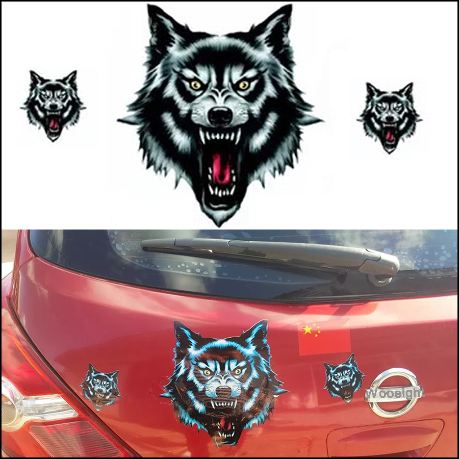 Car Accessories Vinyl Wolf Head Stickers Decals Waterproof Funny Decoration Universal for Motorcycle Motorbike Door Truck Helmet image