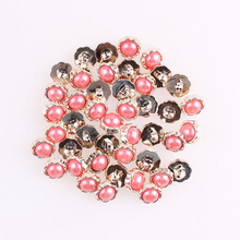 100Pcs Diy Handmade Metal Pearl Buttons For Girl Clothing DIY Decor Scrapbooking Needlework Craft Sewing Accessories E