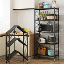 Storage-Rack Kitchenware Foldable Metal Black Iron 3 for Wire-3-Layer Mobile-Room Household