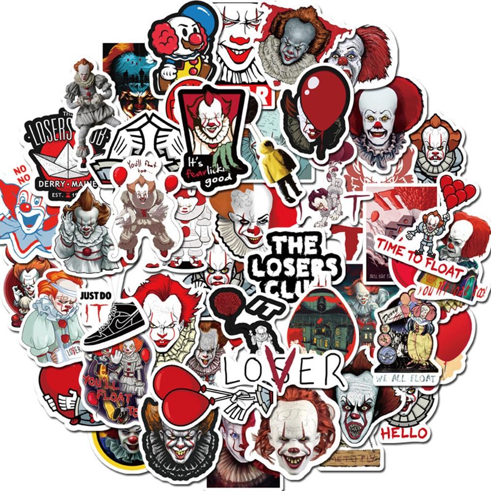 50PCS Horror Movie Stephen King's It Joker Stickers Motorcycle Travel Luggage Guitar Fridge Laptop Waterproof Kid Toy Stickers