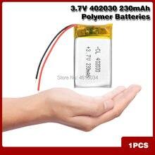 Bateria recarregável do polímero do li-po do lítio das pilhas do lipo do li-íon da capacidade alta 402030 3.7v 230 mah para o gravador mp4 de bluetooth gps mp3