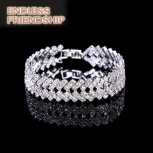 Luxury Silver color Bracelets Crystal For Women Bangles Femme Bridal Wedding Jewelry Accessories