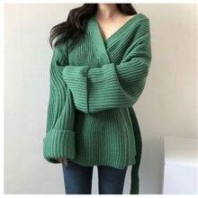 Женский толстый кардиган свитер Осень зима перекрещивающийся
