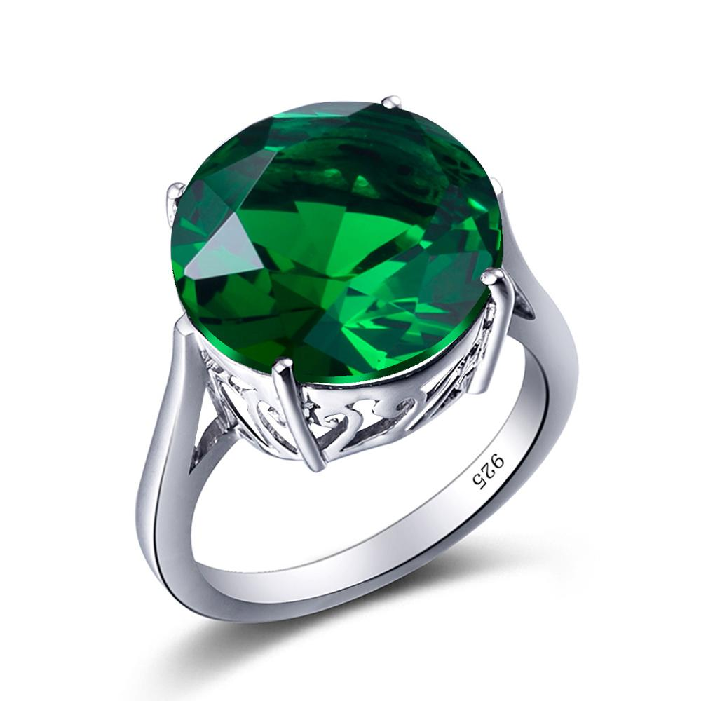 Szjinao Real 925 Sterling Silver Ring Big Green Emerald Gemstone Round Handmade Neo-Gothic Fine Jewelry Rings For Women Gift New