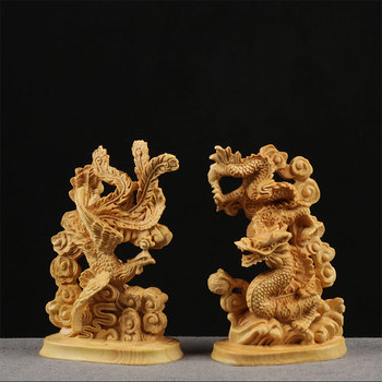 Boxwood Carving Household Decoration Wood Statue Craft Gift Real Wood Collection Lucky Dragon and Phoenix Sculpture Home Decor