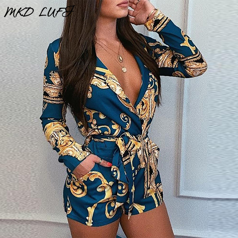 Pocket Design Long Sleeve Mixed Print Tied Rompers Women Jumpsuit Casual One Piece Overalls Playsuits Streetwear