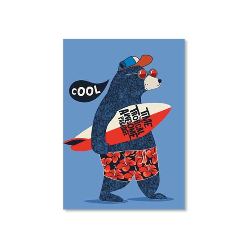 Kartun Surfer Master Keren Bear Poster Modern Kids Room Wall Art Print Gambar Dekorasi Rumah Lukisan Kanvas Tanpa Bingkai
