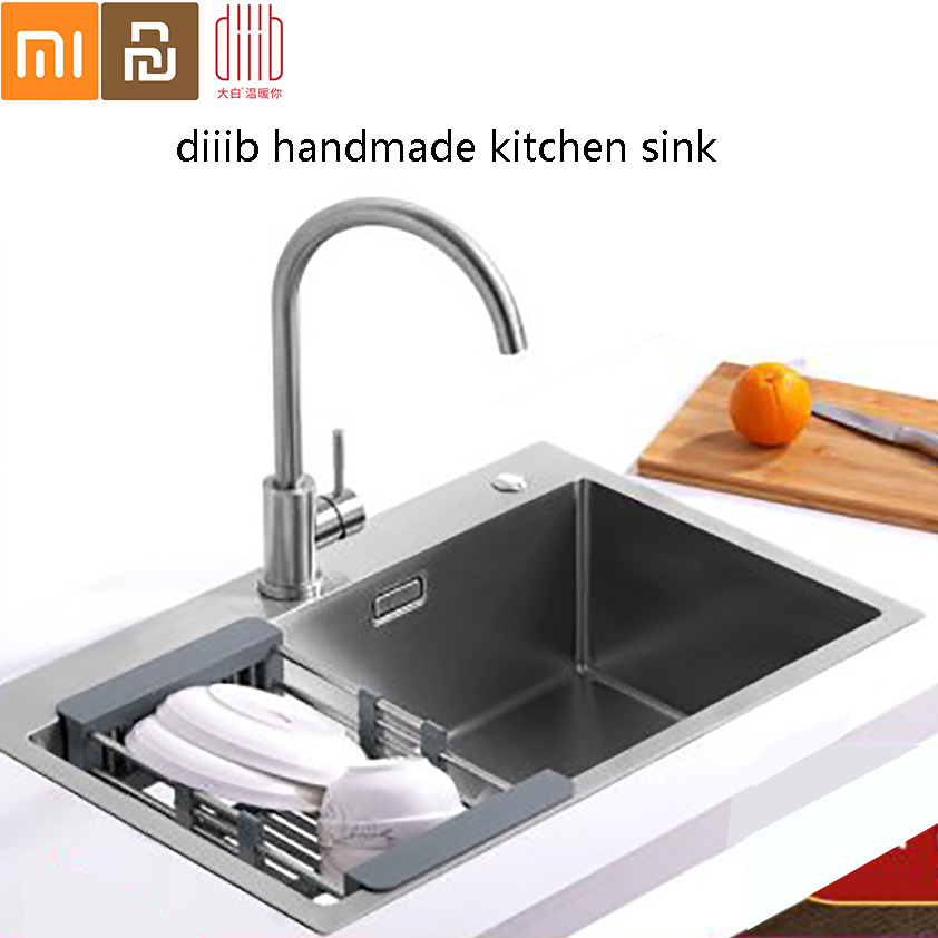 Diiib Dabai Kitchen Sink Handmade Brushed 304 Stainless Steel 3mm Thickness Single Bowl Kitchen Sink From Xiaomi Youpin