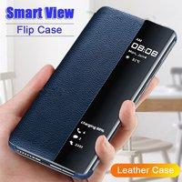 Vista inteligente caso de tirón para Samsung Galaxy A50 A51 A71 A70 Nota 10 9 8 S20 Ultra FE S10 Lite S9 S8 S7 borde J4 J6 más A6 2018 cubierta