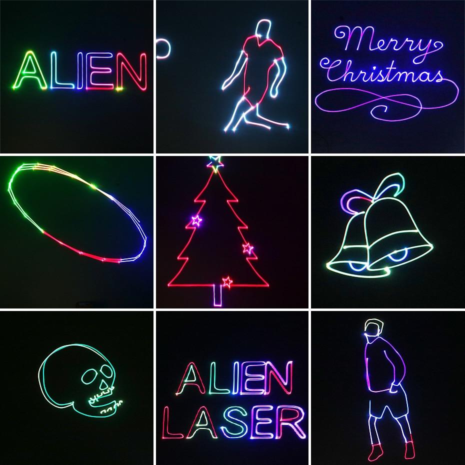 ALIEN RGB Bluetooth APP Remote Animation Laser Projector DMX512 Scanner DJ Disco Party Holiday 500MW 1W 2W Stage Lighting Effect 6