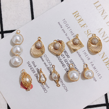 цена на DIY copper pearl elliptical circular edge gold earrings pendant accessories Accessories Necklace Jewelry A Pack of 1 or 4