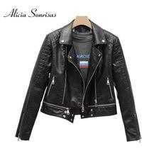 Jacket Women Biker-Coat Crocodile Faux-Leather Short Autumnnew Hem Detachable Locomotive