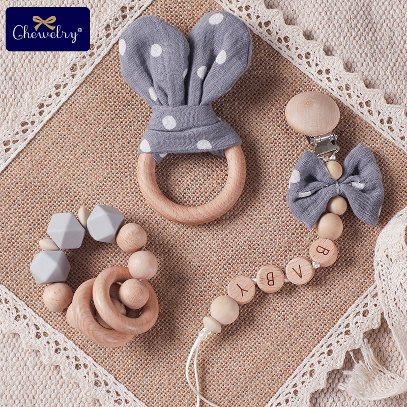 1pc Baby Teether Handmade Pacifier Chain Pendant Cloth Plush Toys Soother Nipples Holder Cotton Bow Baby Accessories Newborn Toy