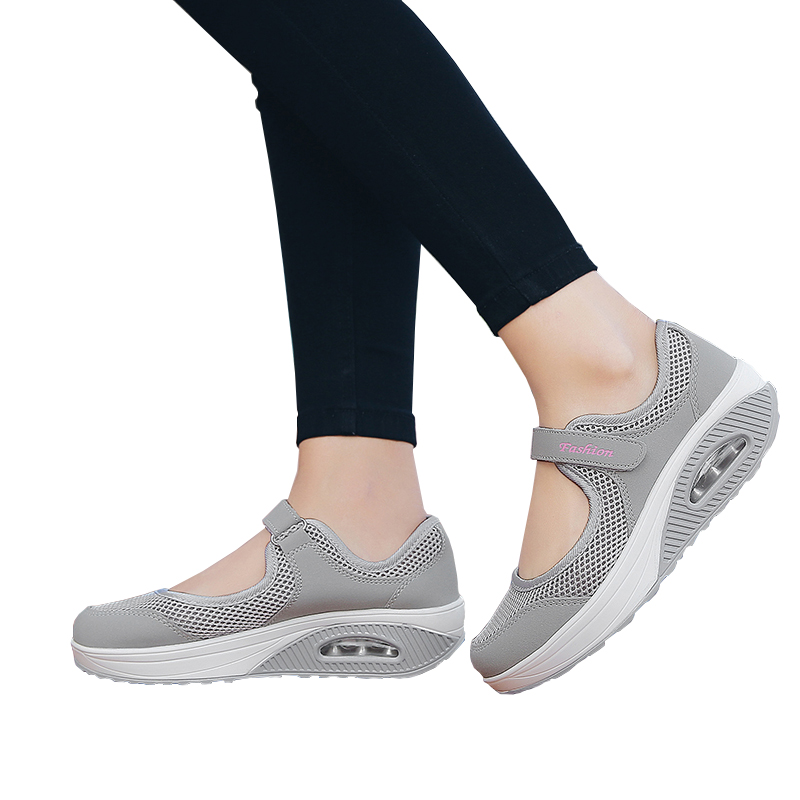 Summer Women Flat Platform Shoes Woman Casual Mesh Breathable Slip On Fabric Sneakers Shoes For Women Female Mary Jane Shoe(China)