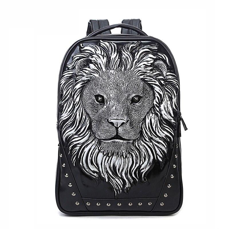Mode sac à dos femmes sacs à dos hommes sac à dos Famale 3D impression Lion Rivet sacs à dos femmes sacs d'école pour adolescents sac de voyage - 3