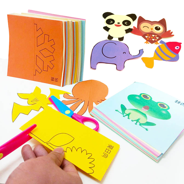 48pcs/set Children cartoon color paper folding and cutting toys Kids kingergarden art craft DIY educational toys with Tools