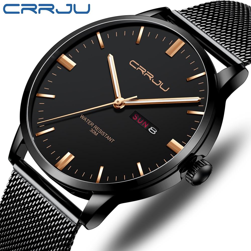 Men's Watch CRRJU Classic Business Thin Watch Waterproof Quartz Wristwatch Casual Date Display Clock Calendar Relogio Masculino