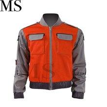 Alta qualidade de volta para o futuro cosplay traje jr marlene seamus marty mcfly jaqueta laranja outwear casaco feito qualquer tamanho