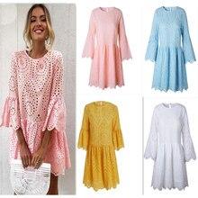 цена на Summer Patry Dress Women Vestidos 2019 Lace Mini Dresses Plus Size XXL Candy Color Beach Dresses Hollow Out White Dress WQS2230