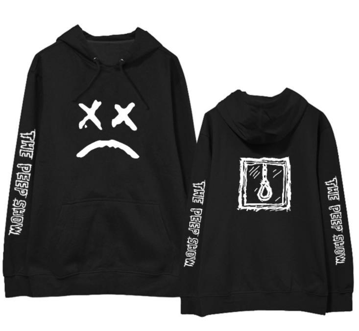 Fashion lil peep the peep show same printing pullover loose hoodies for men women hip hop fleece/thin sweatshirt 4 colors