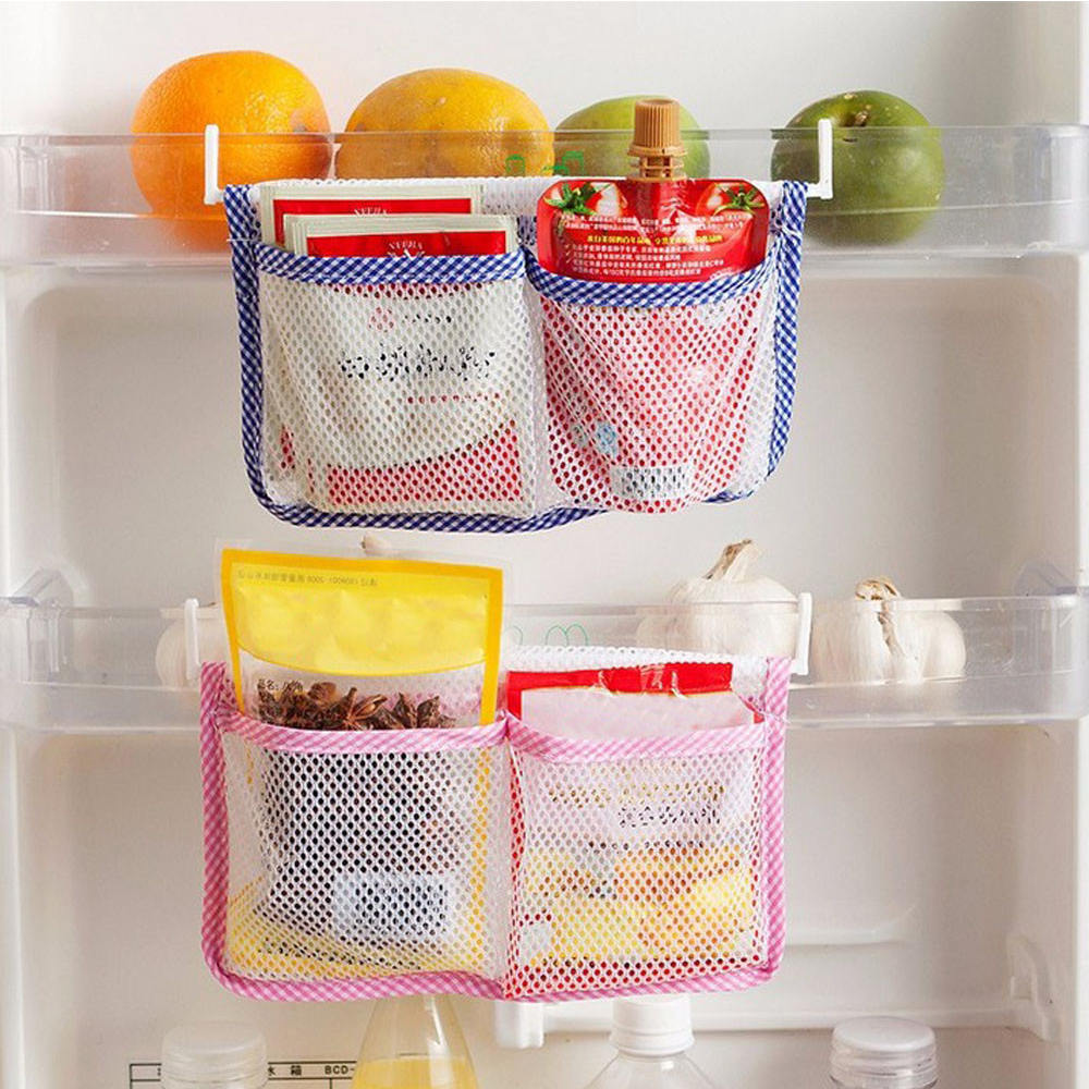 4pcs Hanging Storage Bag Food Refrigerator Mesh Holder Storage Organizer Kitchen Cabinet Storage Organizer