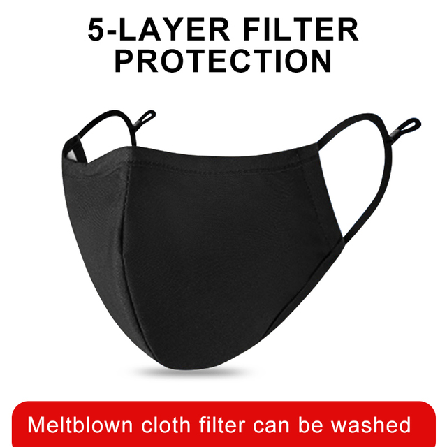 Black mouth Mask Cotton PM2.5 anti dust mask Activated carbon filter mascarilla Mouth-muffle bacteria proof Flu Face masks Care