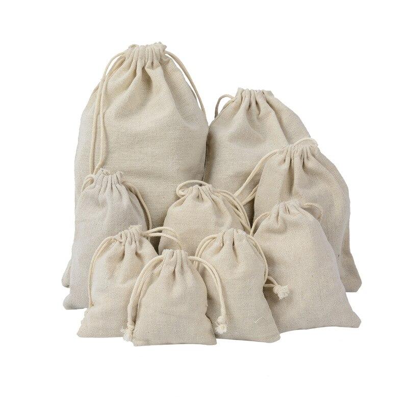 50pcs White Cotton Sacks Jute Bags Natural Burlap Gift Candy Pouch Drawstring Wedding Party Favor Storage