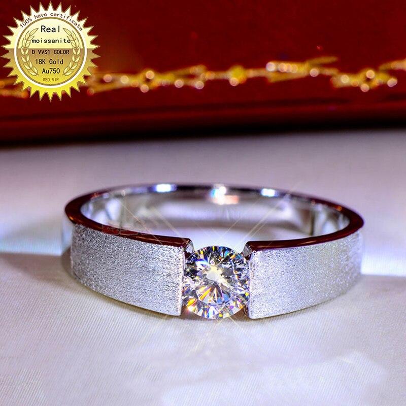 Bague en or 18K 1ct D VVS moissanite hommes bague de fiançailles et bijoux de mariage avec certificat 005