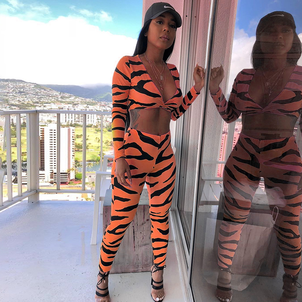 Sexy Neon 2 Piece Set Women outfits Matching Sets Club Zebra Print Green Top And Pants Fall 2019 tracksuit sportsuit clothing in Women 39 s Sets from Women 39 s Clothing