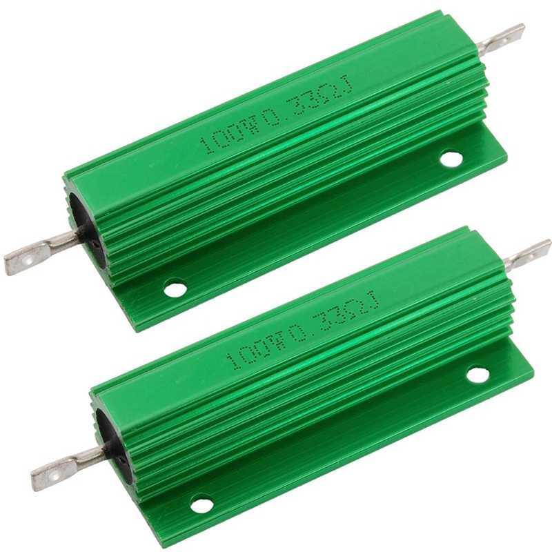 2 resistencias de carcasa de aluminio color verde para convertidor de repuesto LED 100 W 100 RJA 100 W 100 Ohm Sourcingmap
