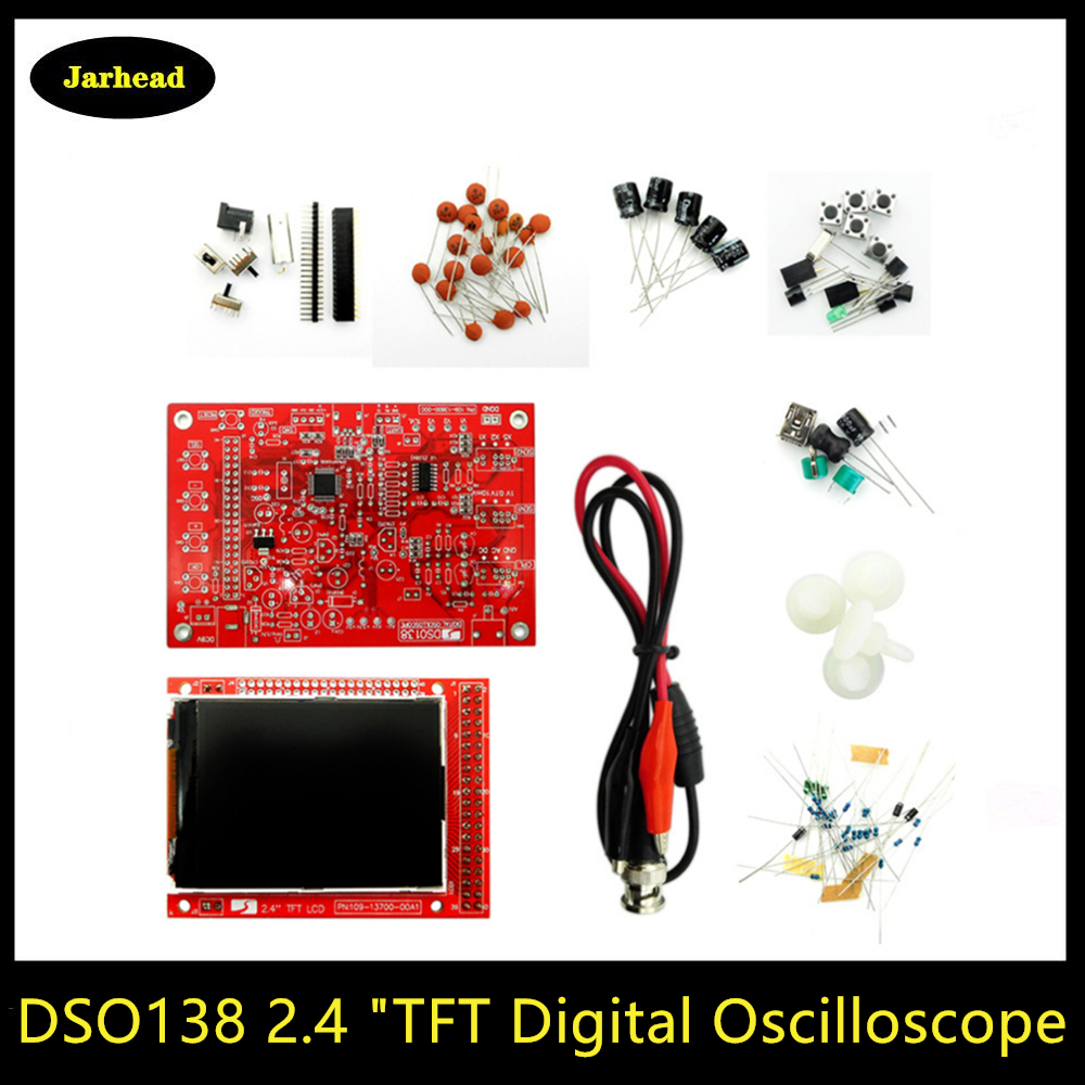 DSO138 2.4 Inch TFT Digital Oscilloscope 1Msps + Probe Crocodile Test Clip Analog Width (Welding) E-learning Kit image